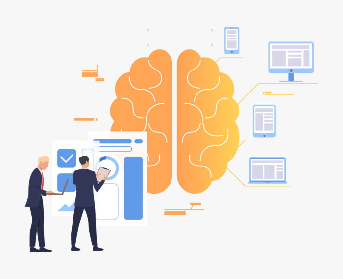 Business people working, brain, chart and digital devices