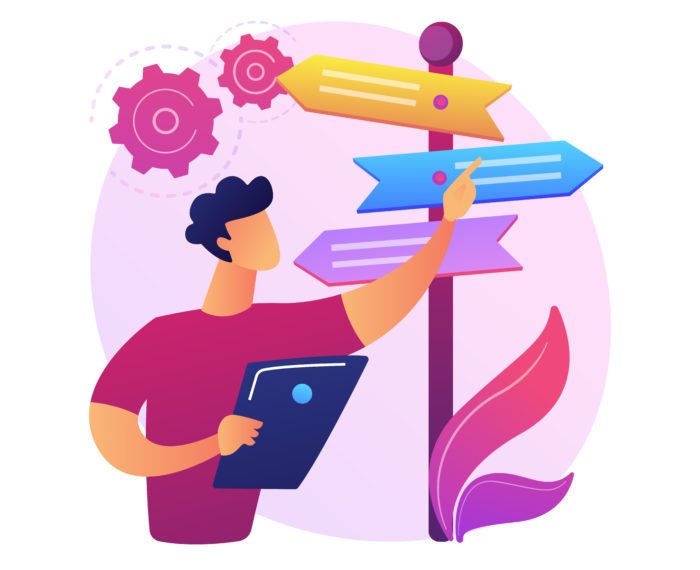 Decision making abstract concept vector illustration.